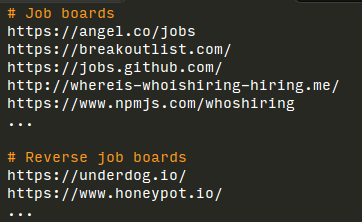 Selection from job boards list